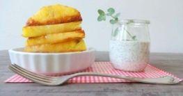 Karamellisierte Ananas mit Joghurt-Mohn-Creme