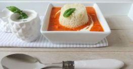 Tomaten-Suppe mit Basilikum-Rahm & Reis