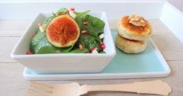 Spinat-Salat mit Feige, Feta & Walnuss-Talern